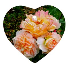 Bunch Of Orange And Pink Roses Ornament (heart)