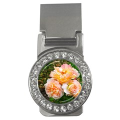 Bunch Of Orange And Pink Roses Money Clips (cz)