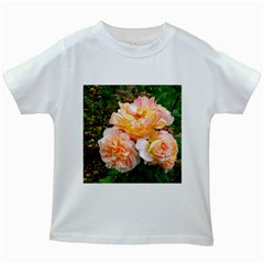 Bunch Of Orange And Pink Roses Kids White T Shirts
