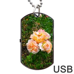 Bunch Of Orange And Pink Roses Dog Tag Usb Flash (one Side)