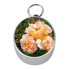 Bunch Of Orange And Pink Roses Mini Silver Compasses