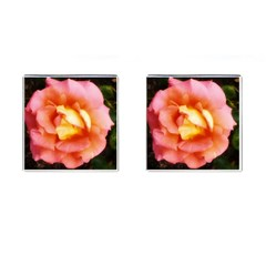 Light Orange And Pink Rose Cufflinks (square)