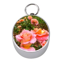 Pink Rose Field Mini Silver Compasses