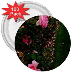 Pink Rose Field (sideways) 3  Buttons (100 Pack)