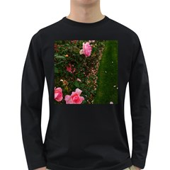 Pink Rose Field (sideways) Long Sleeve Dark T Shirt