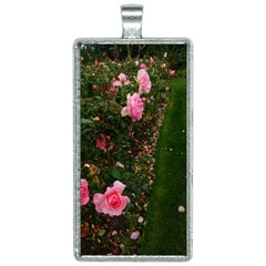 Pink Rose Field (sideways) Rectangle Necklace by okhismakingart