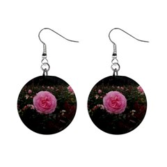 Pink Rose Field Ii Mini Button Earrings