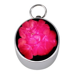 Single Geranium Blossom Mini Silver Compasses