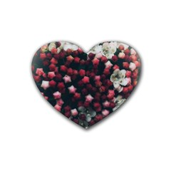 Floral Stars  Dark Red Heart Coaster (4 Pack)