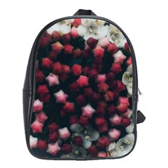 Floral Stars  Dark Red School Bag (large)