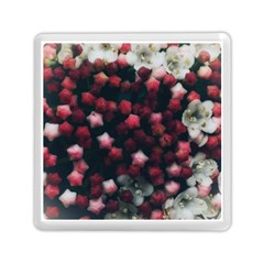 Floral Stars -dark Red Memory Card Reader (square) by okhismakingart