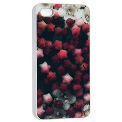 Floral Stars  Dark Red Iphone 4/4s Seamless Case (white)