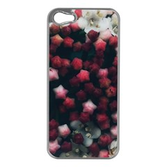 Floral Stars  Dark Red Iphone 5 Case (silver)