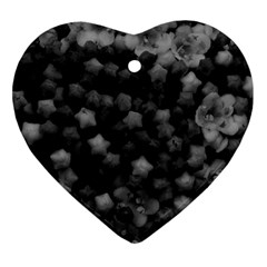 Floral Stars -black And White Ornament (heart) by okhismakingart