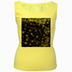Floral Stars  Black And White Women s Yellow Tank Top by okhismakingart