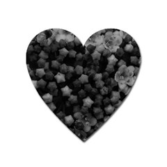 Floral Stars  Black And White Heart Magnet by okhismakingart