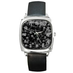 Floral Stars  Black And White Square Metal Watch