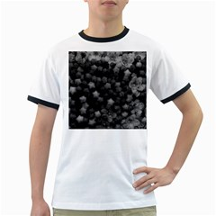 Floral Stars  Black And White Ringer T