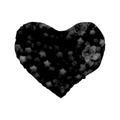 Floral Stars  Black And White Standard 16  Premium Heart Shape Cushions by okhismakingart