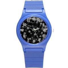 Floral Stars  Black And White, High Contrast Round Plastic Sport Watch (s)
