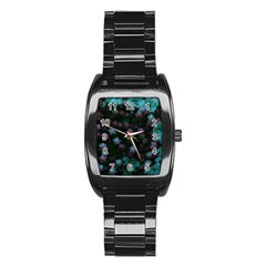 Floral Stars  Blue Stainless Steel Barrel Watch