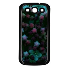 Floral Stars  Blue Samsung Galaxy S3 Back Case (black)