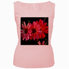 Three Dripping Flowers Women s Pink Tank Top