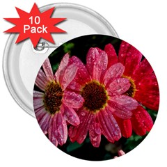 Three Dripping Flowers 3  Buttons (10 Pack)