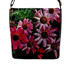 Pink Asters Flap Closure Messenger Bag (l)