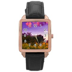 Purple Afternoon Rose Gold Leather Watch