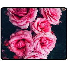 Pink Roses Ii Fleece Blanket (medium)