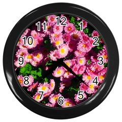 Pink Flower Bushes Wall Clock (black)