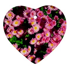 Pink Flower Bushes Heart Ornament (two Sides)