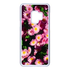 Pink Flower Bushes Samsung Galaxy S9 Seamless Case(white)