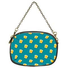 Toast With Cheese Pattern Turquoise Green Background Retro Funny Food Chain Purse (two Sides)