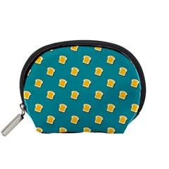 Toast With Cheese Pattern Turquoise Green Background Retro Funny Food Accessory Pouch (small) by genx