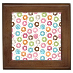 Donut Pattern With Funny Candies Framed Tiles by genx