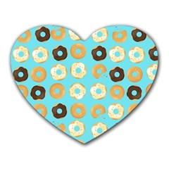 Donuts Pattern With Bites Bright Pastel Blue And Brown Heart Mousepads by genx