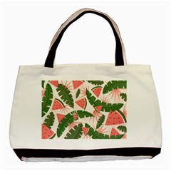Tropical Watermelon Leaves Pink And Green Jungle Leaves Retro Hawaiian Style Basic Tote Bag (two Sides) by genx