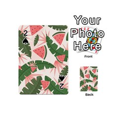 Tropical Watermelon Leaves Pink And Green Jungle Leaves Retro Hawaiian Style Playing Cards 54 (mini) by genx