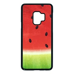 Juicy Paint Texture Watermelon Red And Green Watercolor Samsung Galaxy S9 Seamless Case(black)