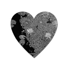 Black And White Lily Pond Heart Magnet by okhismakingart