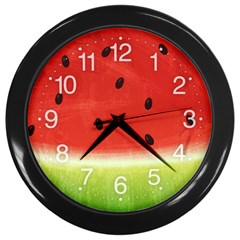 Juicy Paint Texture Watermelon Red And Green Watercolor Wall Clock (black) by genx