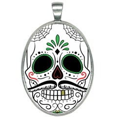 Day Of The Dead Skull Sugar Skull Oval Necklace