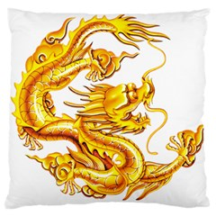 Chinese Dragon Golden Large Flano Cushion Case (one Side)