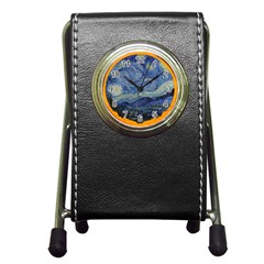 The Starry Night Starry Night Over The Rhne Pain Pen Holder Desk Clock