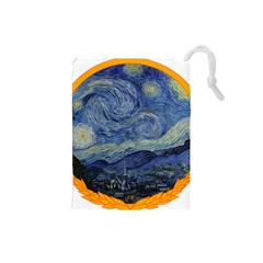 The Starry Night Starry Night Over The Rhne Pain Drawstring Pouch (small)