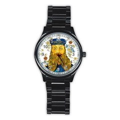 Vincent Van Gogh Cartoon Beard Illustration Bearde Stainless Steel Round Watch