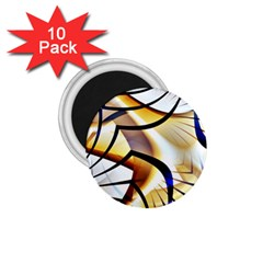 Pattern Fractal Gold Pointed 1 75  Magnets (10 Pack)