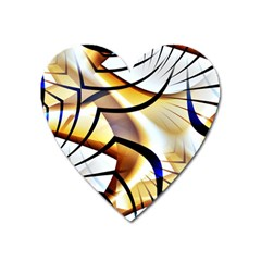 Pattern Fractal Gold Pointed Heart Magnet by Pakrebo